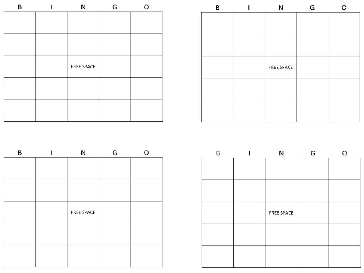 Bingo Card Template  Bingo Template With Blank Bingo Template Pdf