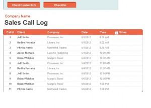 Call Log Spreadsheet Screenshot
