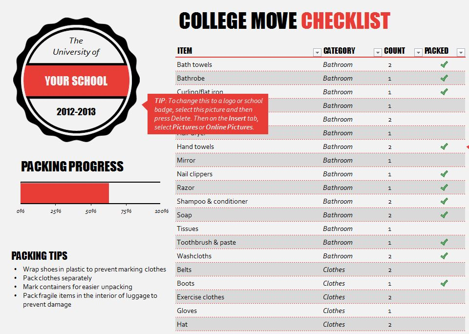 screenshot of the College Move In Checklist