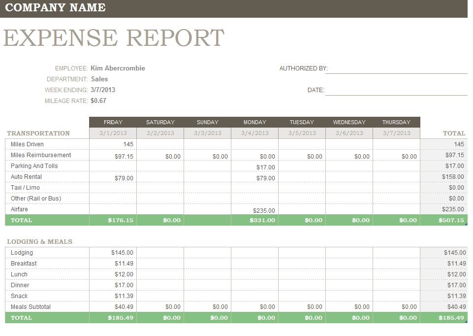 Expense Report Forms Free screenshot