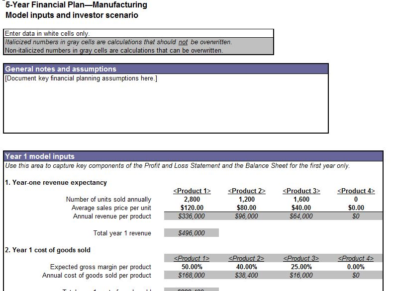 Screenshot of the Five Year Financial Plan Template