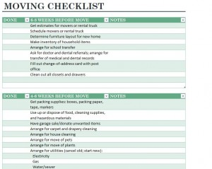 Home Moving Checklist screenshot