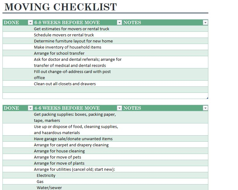 Home Moving Checklist | Moving Checklist Printable