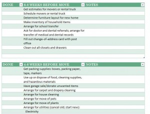 Screenshot of the Moving House Checklist