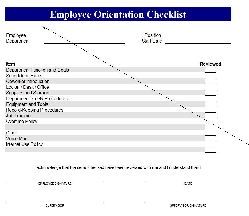 New Employee Checklist screenshot