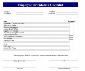 New Employee Orientation Checklist Screenshot