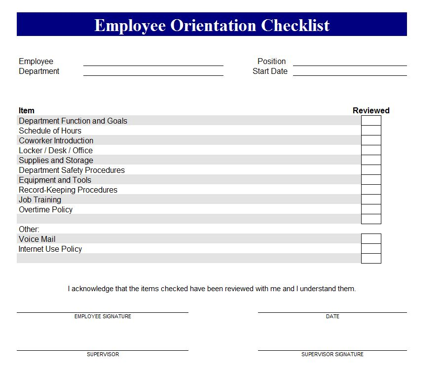 new employee checklist templates