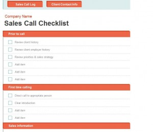 Sales Call Log screenshot