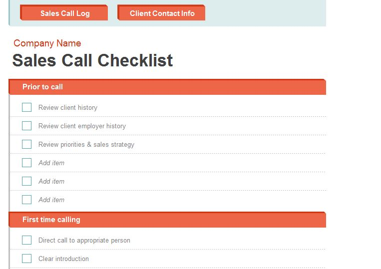 Screenshot of the Sales Call Report Template