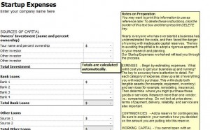 Start Up Expenses Template