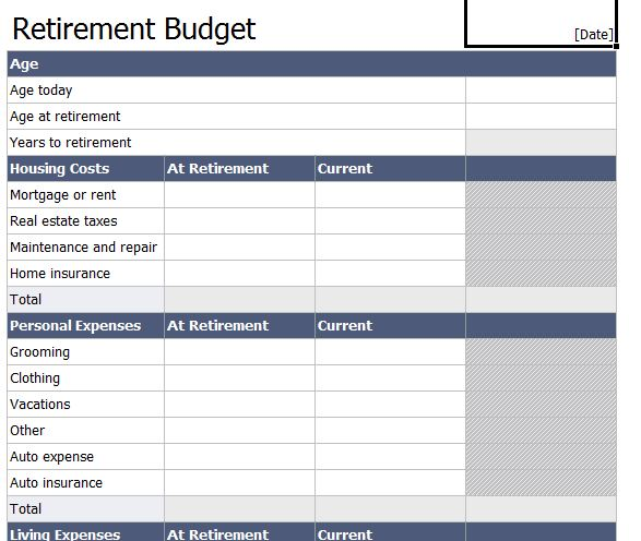 Worksheets Retirement Worksheet retirement expense worksheet budget planner free template for excel