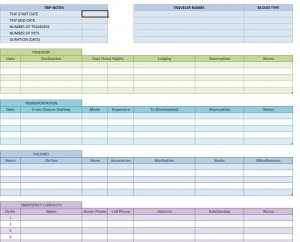 travel itinerary template screenshot