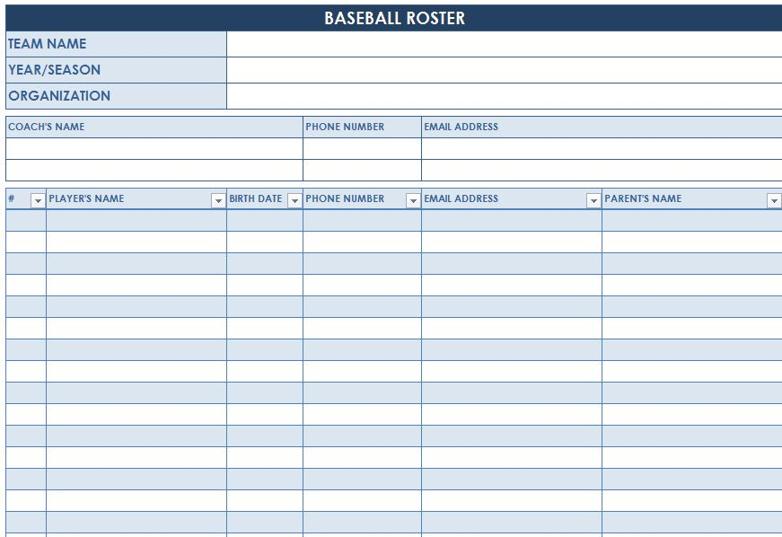 Screenshot Of The Baseball Roster Template