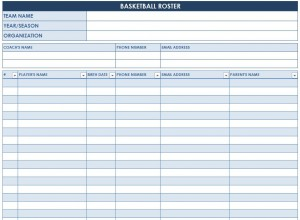 Screenshot of the Basketball Roster Template