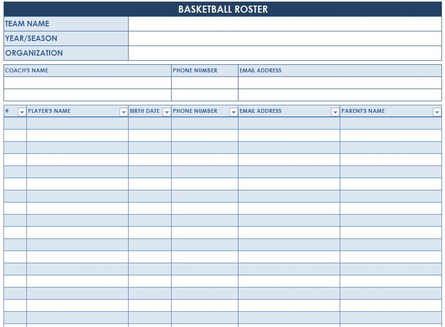 basketball team roster template