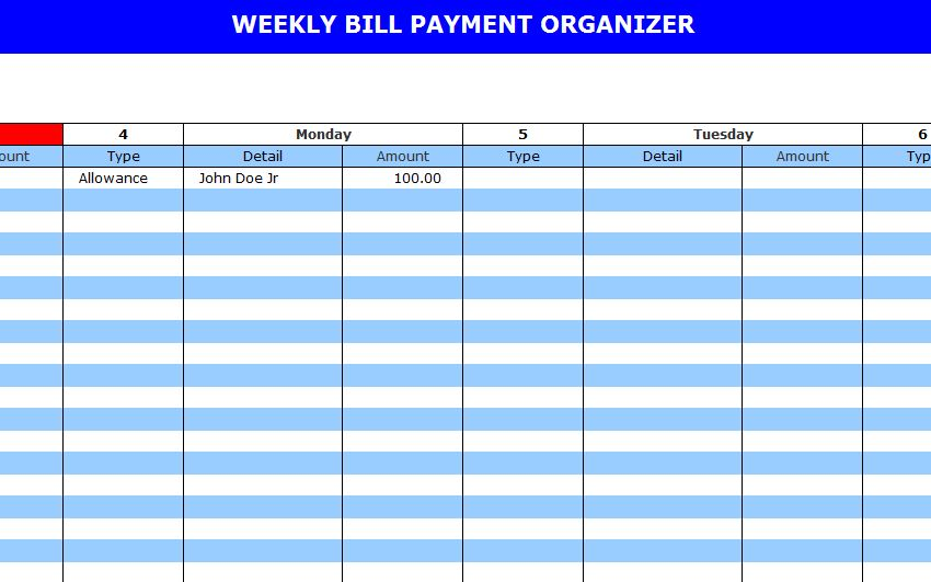 Screenshot of the Bill Pay Calendar Template