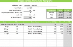 Screenshot of the Depreciation Schedule Template