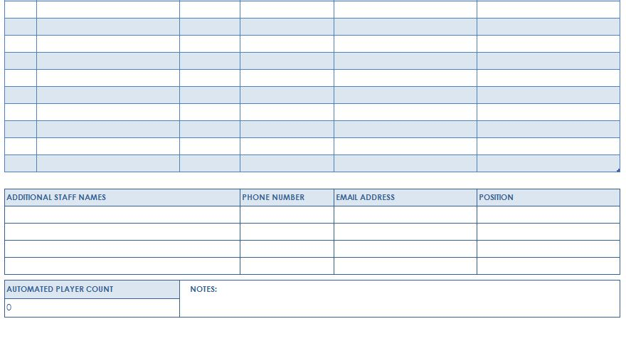 Screenshot of the Football Roster Template