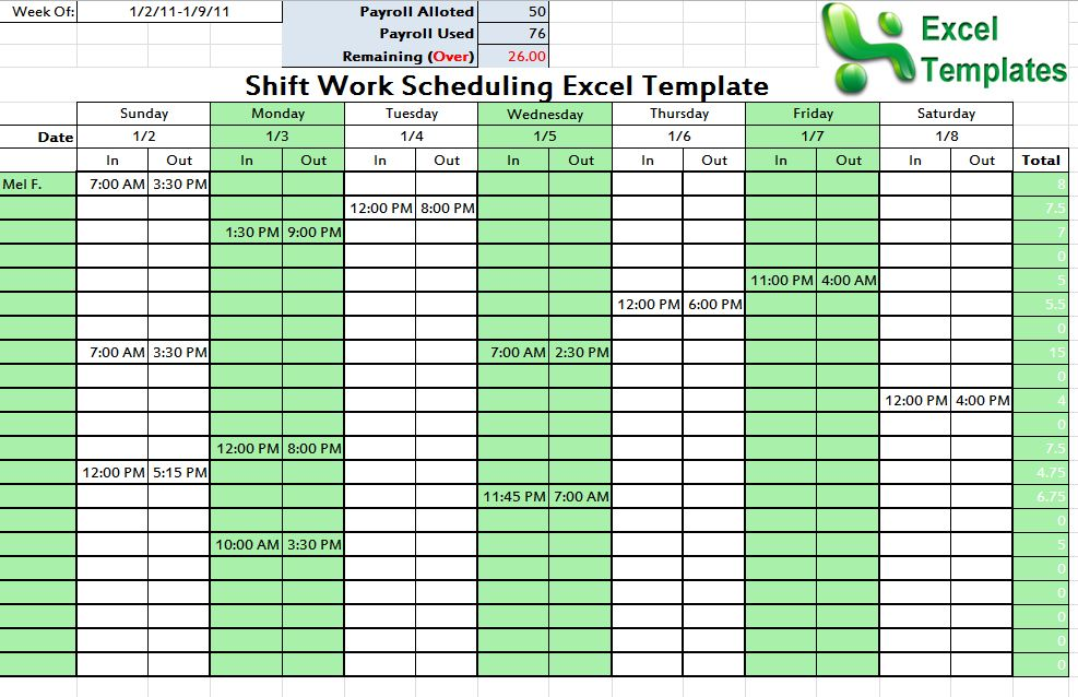 Screenshot of the Shift Schedule Template
