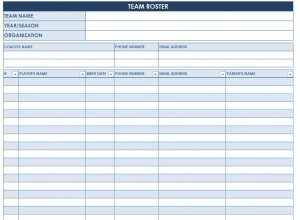 Screenshot of the Soccer Roster Template