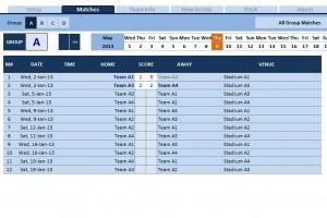 Screenshot of the Soccer Tournament Template
