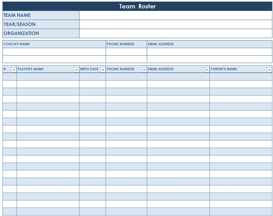 Team Roster Template – Football Roster Template