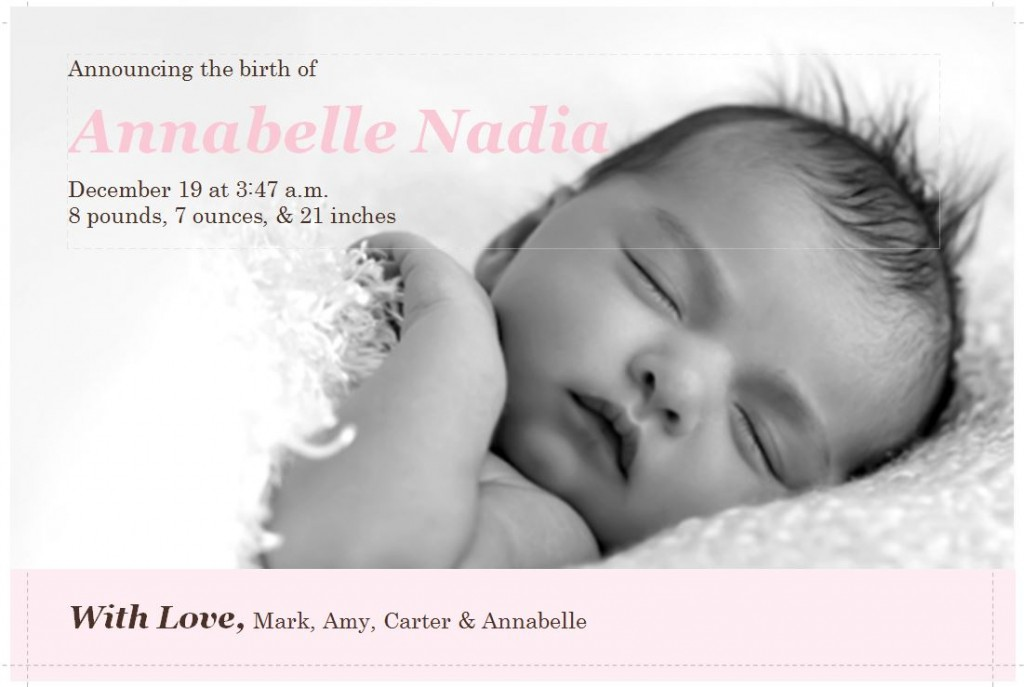 screenshot of the Birth Announcement Template