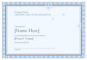 The certificate of excellence template