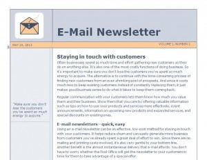 Screenshot of the Email Newsletter Template