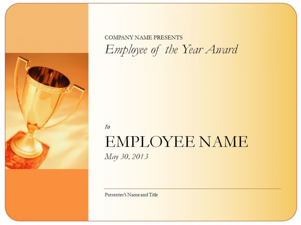 Screenshot of the Employee of the Year Certificate