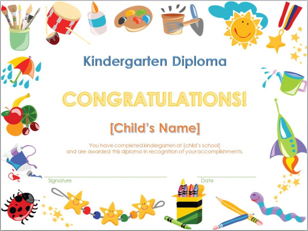 Diplomas Templates Kindergarten Diploma Template That is