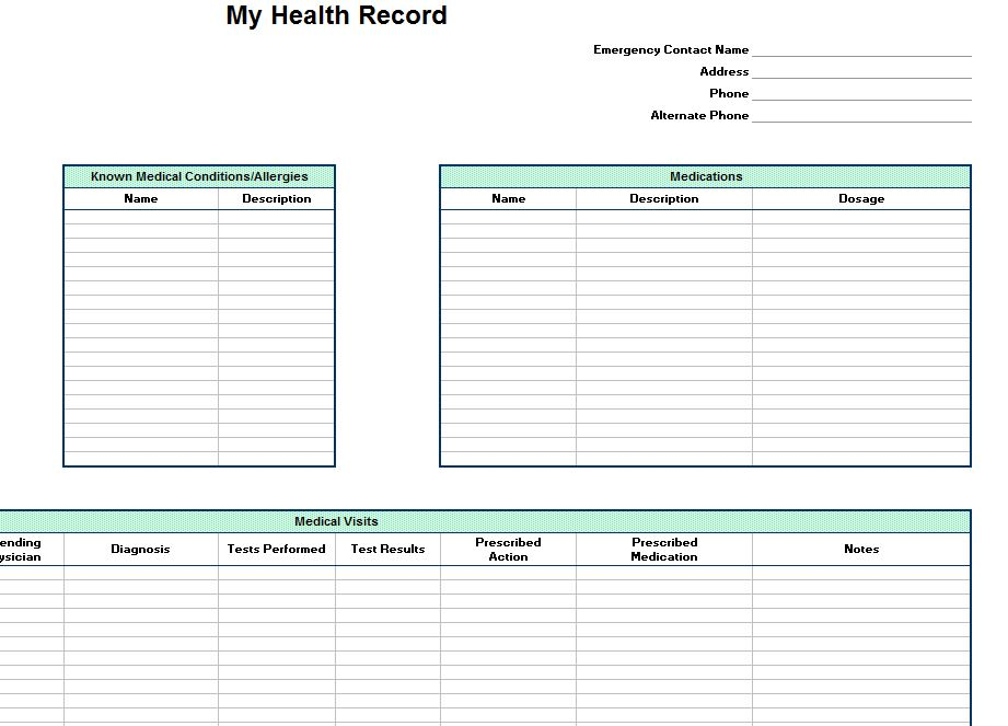 Personal Health Record Template | Personal Health Record