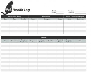 Screenshot of the Pet Health Record Template
