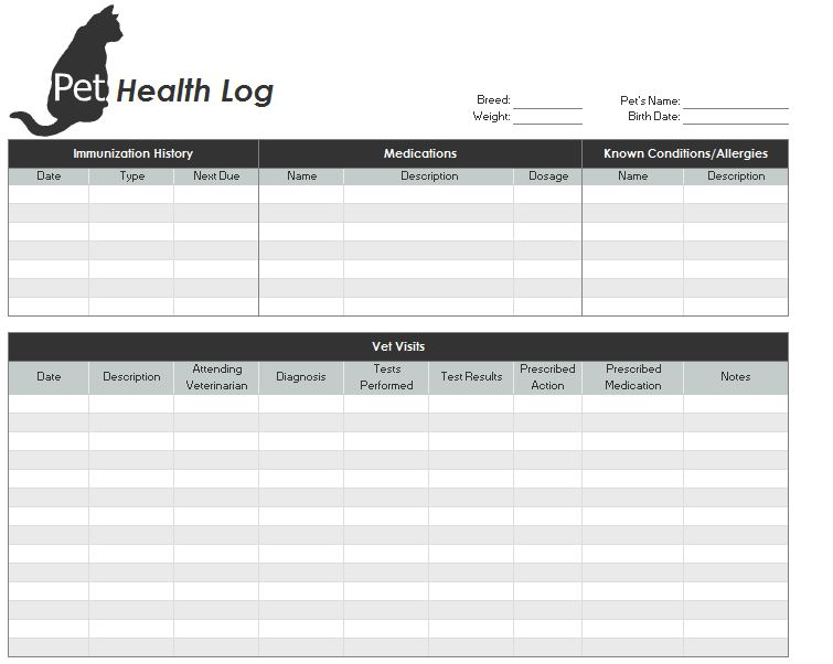 pet health record template pet health records. Black Bedroom Furniture Sets. Home Design Ideas