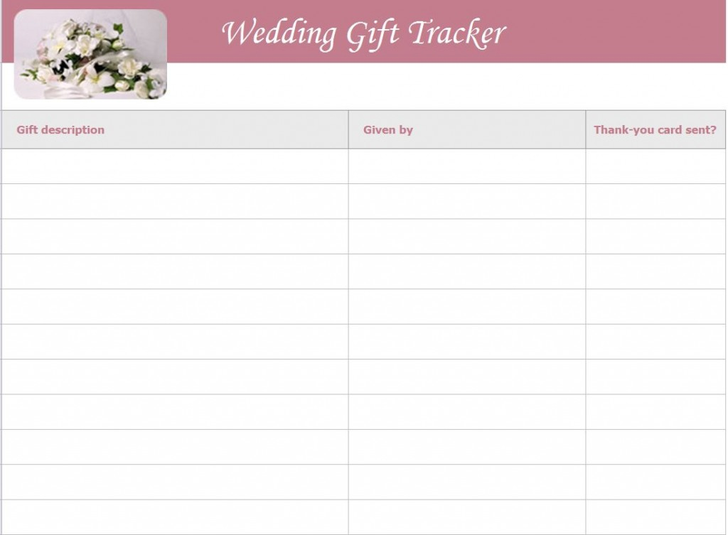 Wedding Gift List Template screenshot