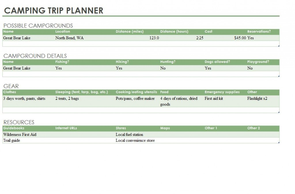 Camping Trip Planner Template