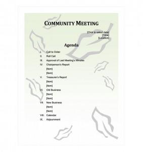 Free Community Meeting Agenda