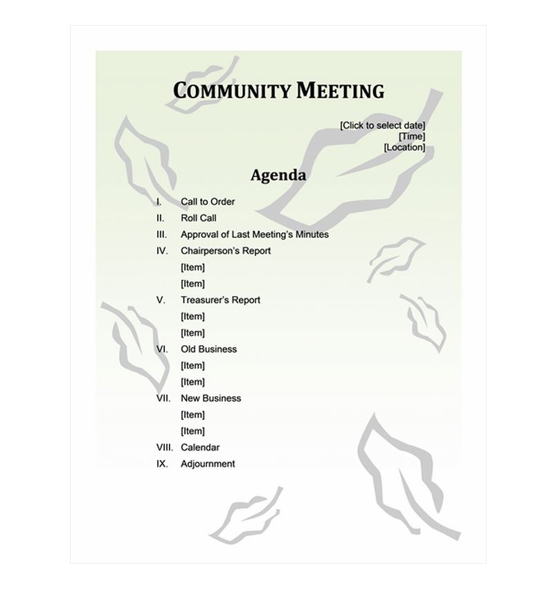 Free Community Meeting Agenda