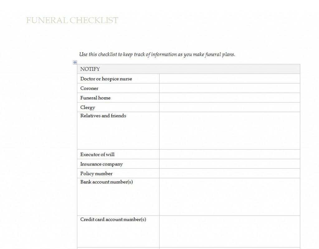 Free Funeral Planning Checklist