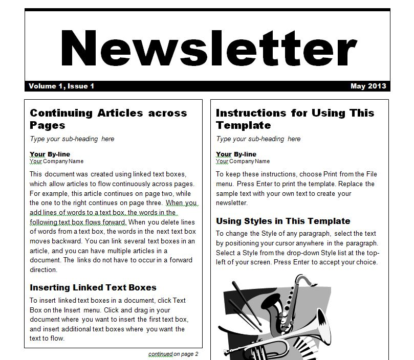 newsletter template newsletter templates word