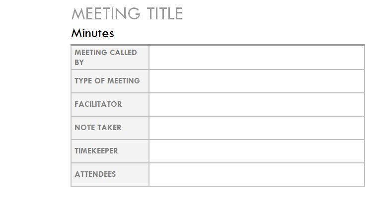 Microsoft's Outlook Meeting Minutes Template