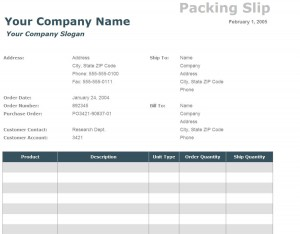 The Packing Slip Template