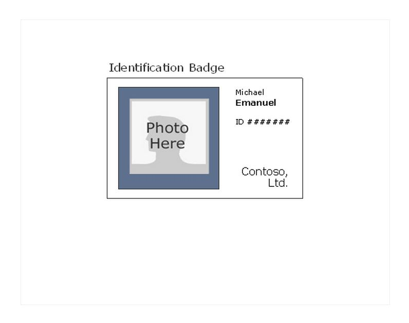 Photo id badge template id badge free id badge for Photographer id card template