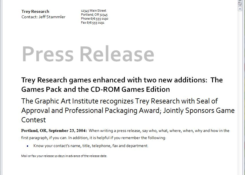 press release template microsoft press release template