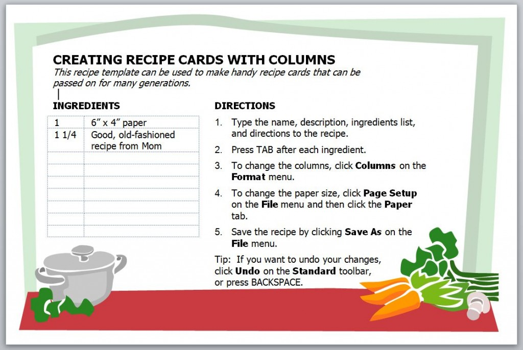 Recipe card template recipe card template for word for Template for recipes in word