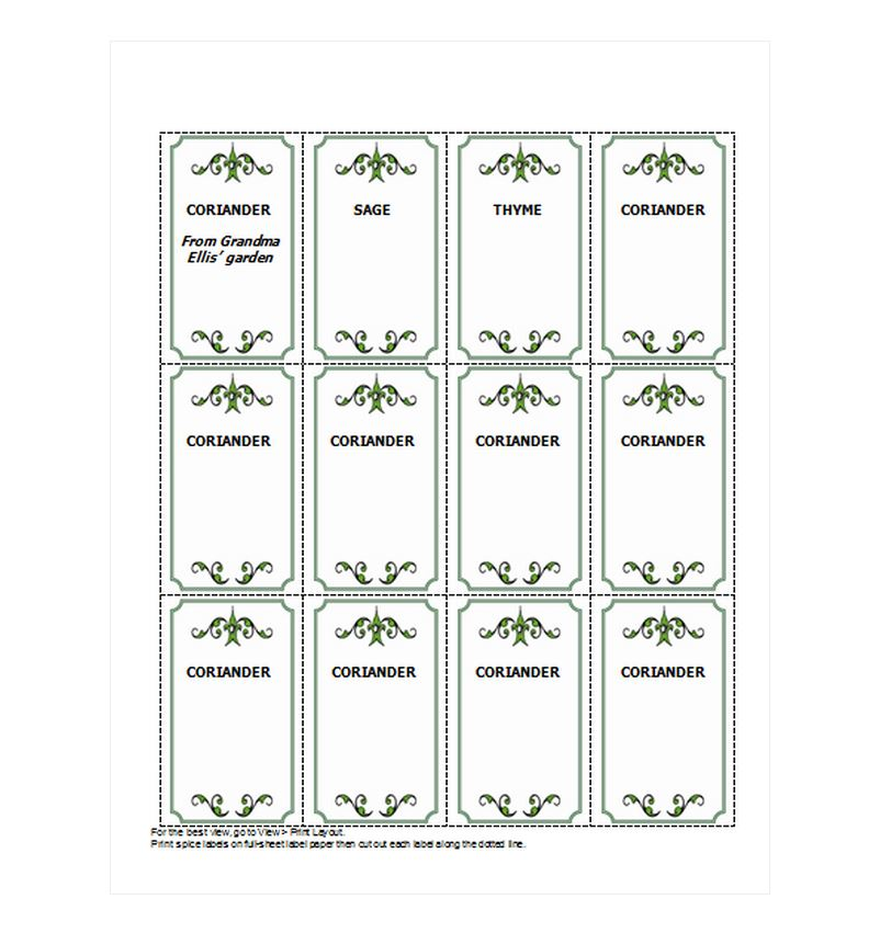 Free Spice Jar Labels
