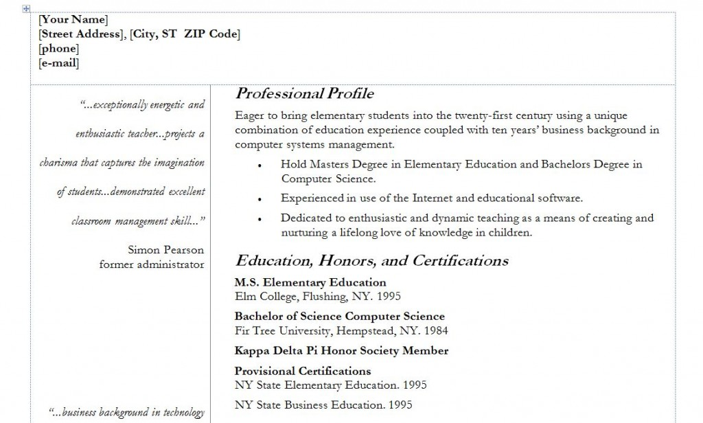 Teacher Resumes Templates Free