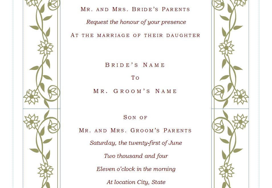 Wedding Invitation Template Free Wedding Invitation Template