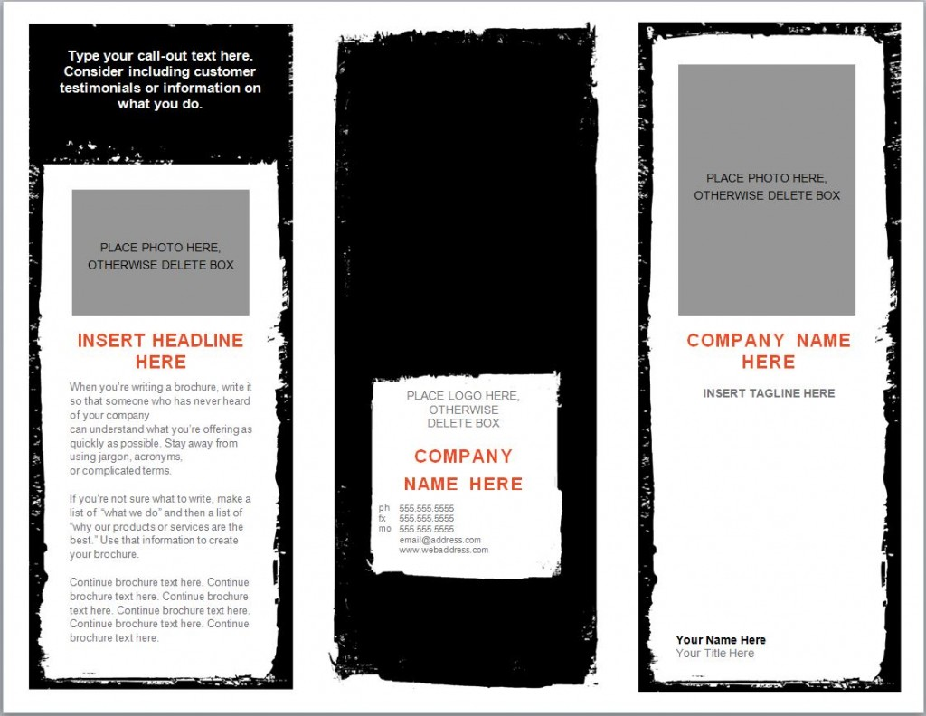 Free Brochure Template Microsoft Word  Blank Brochure Template Word