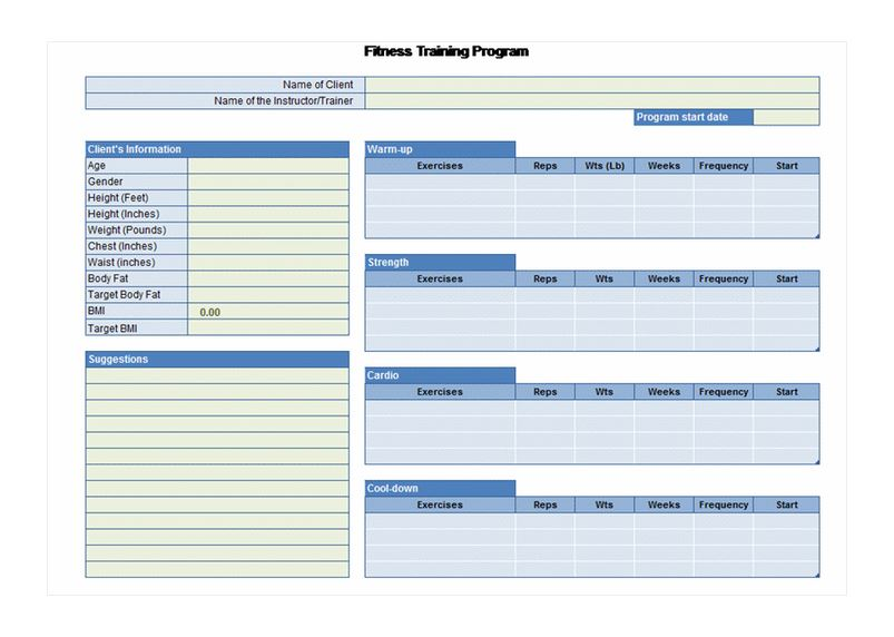 Exercise Planner Tempalte